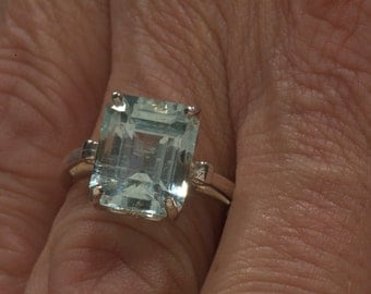 Natural 6.15 Carats Emerald Cut Aquamarine Unique Engagement Ring & March birthstone statement ring