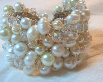 Freshwater Pearl Crystal  Wide Soft Hand Knit Bridal Wedding Bead Cuff Bracelet, White, Ivory Unique Original Exclusive, Sereba Designs