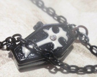 Gothic cross Coffin Necklace Small Black Metal Coffin on 24 in Black chain poison ring Locket necklace