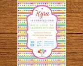 RAINBOW - customized printable square crown birthday party invitation