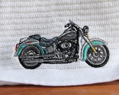 Embroidered teal and grey motorcycle on white bar/mop towel