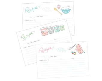 Vintage Kitchen Recipe Cards printable PDF- pyrex bowls, canisters, oven mit, whisk 4x6