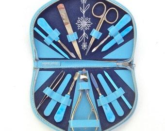 Lady's Manicure Kit, Sky Blue, Vintage