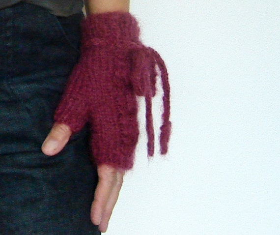 Mohair Fingerless Gloves with Cables and Cord