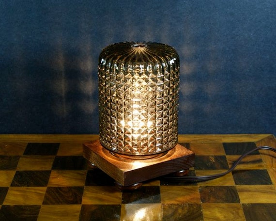 Small Table Lamp With Cut Glass Shade And Square Wood Base