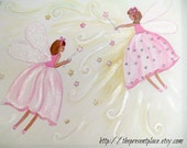 two pink fairies painting,matches fairy bedding,fairy painting,two fairies,two sisters,girls room decor,wall art,fairy wall art,kids art