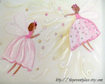 two pink fairies painting,matches fairy bedding,fairy painting,two fairies,two sisters,girls room decor,wall art,fairy wall art,kids art