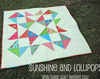 Sunshine and Lollipops PDF Lap quilt pattern for Layer Cake
