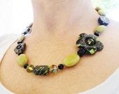 Chartreuse Green Howlite Semi-precious Stone Black Splattered Flower Beaded Handmade Necklace By Distinctly Daisy