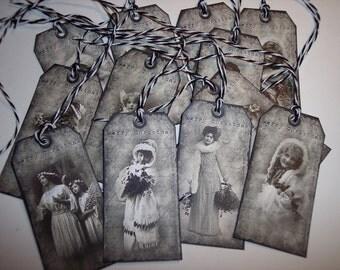 Vintage Beautiful Merry Christmas Ladies Ephemera Tags set of 12