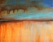 Small Abstract 8x8 Square Dark Brown, Blues, Orange, Gold artist Gwen Duda