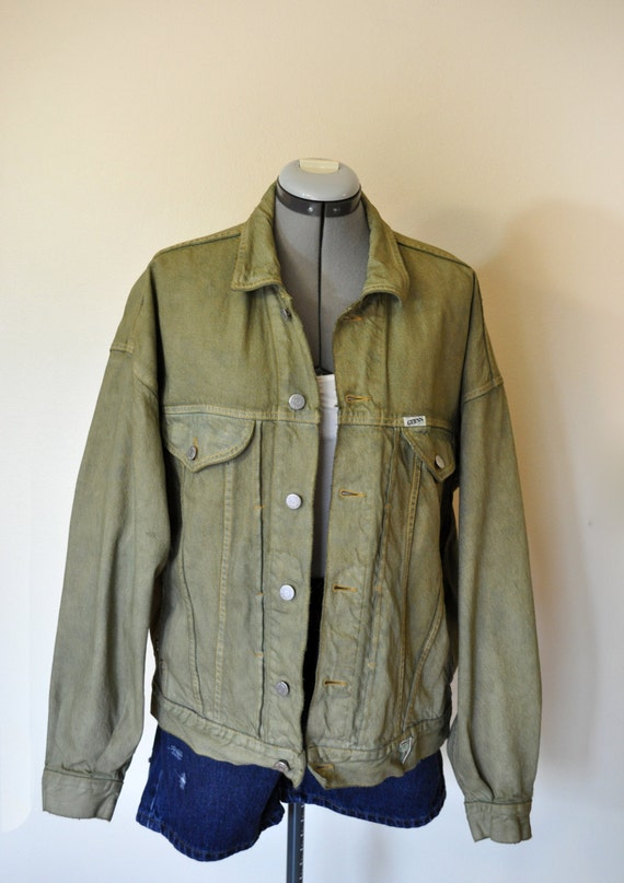 Mens Large JACKET Olive Green Hand Dyed Upcycled by DavidsonStudio