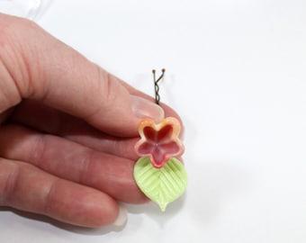 flower hair pin, bridal flower hair clip, bridal or bridesmaid hair accessory, Coral Peach