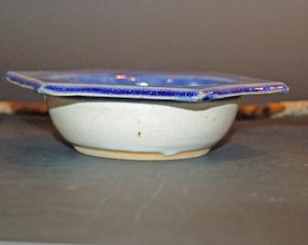 Hexagon Pottery Bowl, Blue and White Bowl,  Ceramic Bowl, Ice Cream Bowl