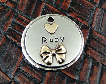 Dog ID Tag Ruby-Custom Dog Collar ID Tag-Handmade Dog Tag-Dog Tag for Dogs