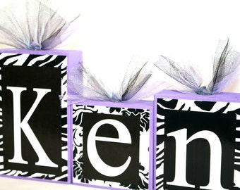 Kenadie Collection-Zebra Print, Damask and Lavender Name blocks - Baby Shower