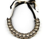 Black and Gold 5 Pleat and Pearl Ribbon Necklace