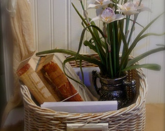 Hand Painted Office Basket - Supplies - French Inspired Storage Tote - Farmhouse Chic