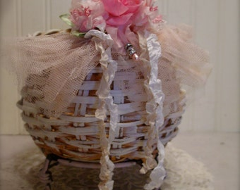 Wicker Footed Basket - Shabby Chic Millinery Pink Flowers - Tulle and Rhinestones - French Farmhouse Home Decor
