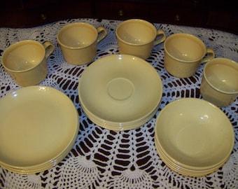 Vintage 23 Piece Set Light Yellow Cups Saucers Berry Bowls Dessert Plates