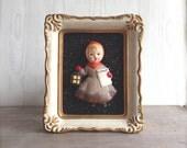 Bisque 3 D Figurine Picture Plaque Christmas Caroler Norcrest Japan Scarce