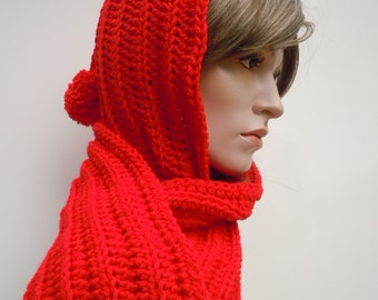 Bright Red Pixie Hood - Red Hooded Scarf - Red Scoodie