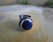 RESERVED for L - Vintage Wide Band Sterling Silver Lapis Ring Loaded with Starry Flecks of Pyrite