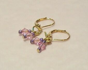 Pink & Purple Crystal Dangle Earrings