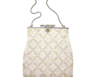 Vintage Beaded Purse with Dragonfly clasp - Free Shipping