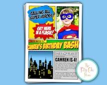 Super Hero Photo Invitation Birthday Party Custom Printable Digital File