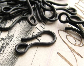 14mm black hook clasp, dark antiqued brass (10 hooks) black antiqued brass hooks, made in the USA