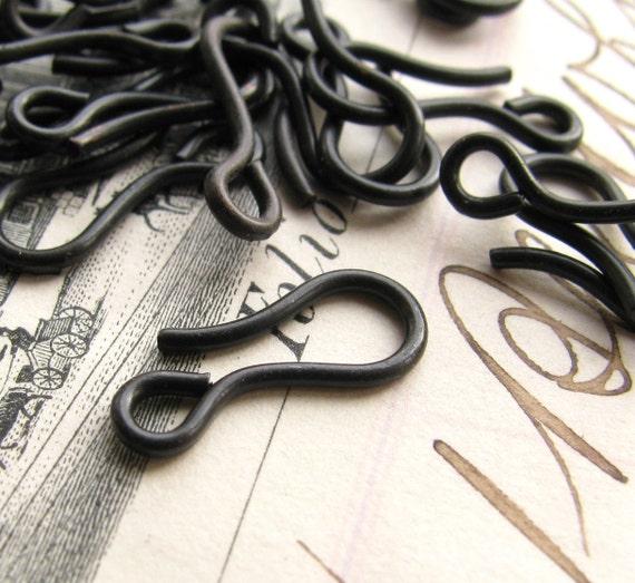14mm black hook clasp, dark antiqued brass (10 hooks) black antiqued brass hooks, made in the USA
