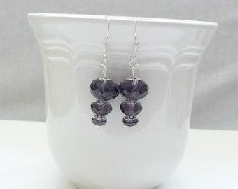 ndb-Purple Faceted Glass Bead Dangle Earrings