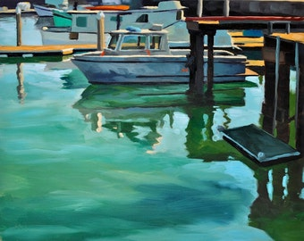 California Art Oil Seascape Painting -  8x10 - Santa Barbara Harbor, Green Shadows by Sharon Schock