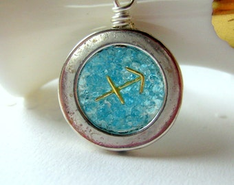 Sagittarius Zodiac Sign Blue Topaz Necklace
