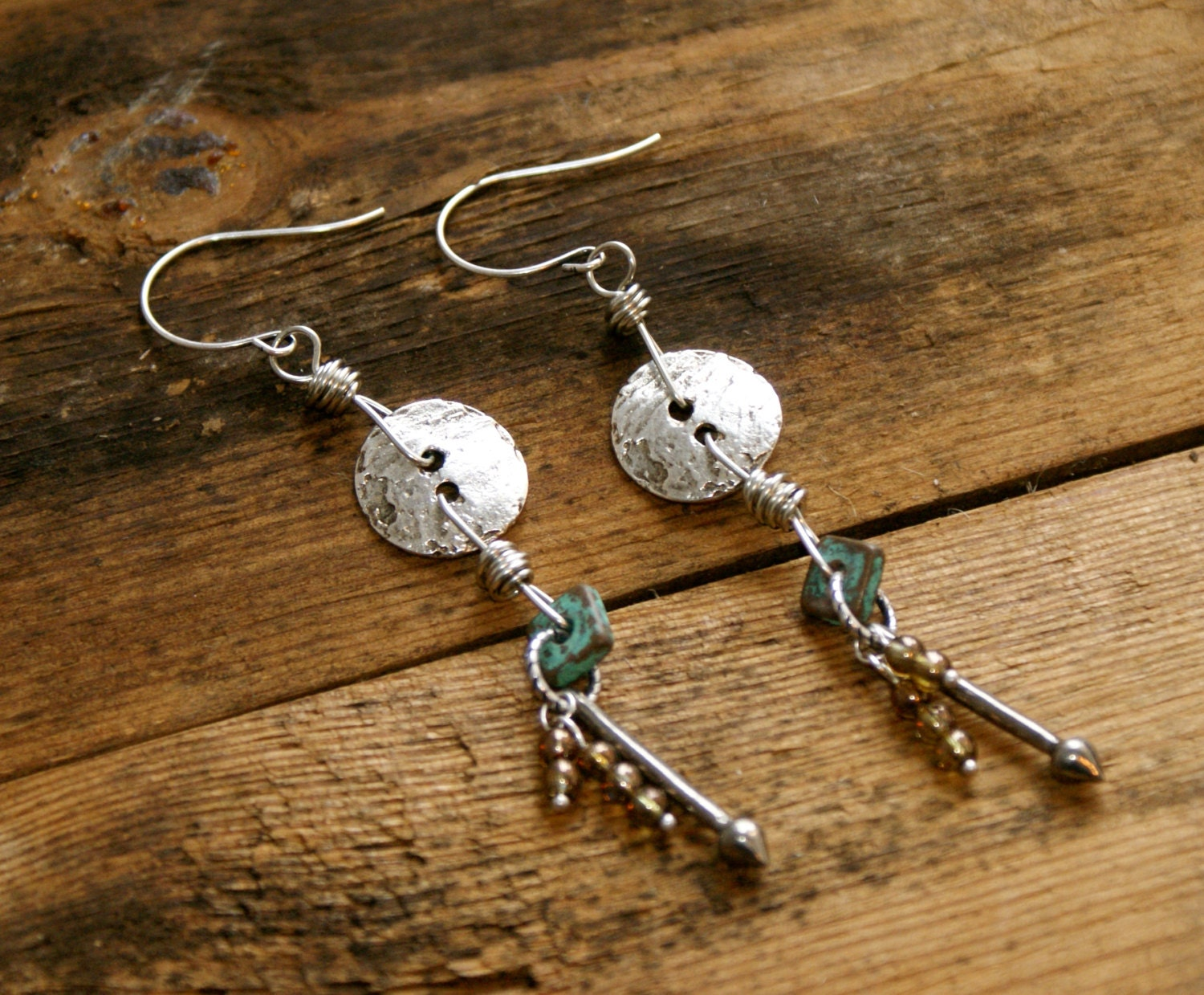 long bohemian chic button earrings earthy urban chic jewelry