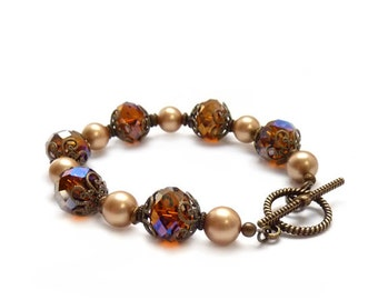 Topaz Brown Bracelet - Downton Abbey Bracelet - Swarovski Pearl & Crystal - Amber Beaded Bracelet - Romantic Victorian Style Jewelry