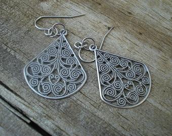 Silvertone Filigree Medallion Earrings