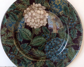 Handmade Decorative Decoupage Plate - Hydrangeas