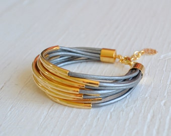 Silver Leather Cuff Bracelet with Gold Tube Beads - Multi Strand Bangle Women's Bracelet ... by  B A L O O S