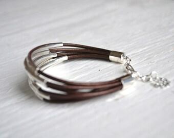 Metallic Brown Leather Cuff Bracelet with Silver Tube Beads - Minamalist Design Multi Strand Bangle Women's Bracelet ... by  B A L O O S