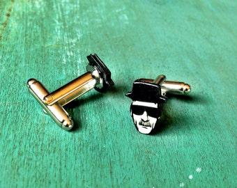 Breaking Bad Heisenberg Cufflinks cuff links cartoon illustration Walter White Jessie Pinkman