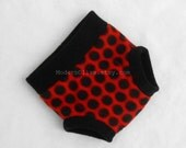 Medium Ladybug Ladybird Fleece Fitted Diaper or Underpant Cover/Underpant,  Red Black Polka Dot , Halloween Valentine Photo Prop Costume