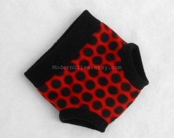 Small Ladybug Ladybird Fleece Fitted Diaper or Underpant Cover/Soft Underpant,  Red Black Polka Dot , Halloween Valentine Photo Prop Costume