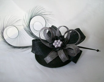 Black and Pewter Silver Grey Pheasant Curl Feather Sinamay Loop & Pearl Fascinator Mini Hat - Made To Order