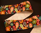 Paisley brown orange turquoise ribbon 1.5 inch width 4 yards