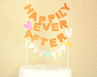 Happily Ever After Sentiment Pink Pumkin Bunting Cake Topper Decoration / Vintage Circus Fairytale Wedding / Featured on New Jersey Bride