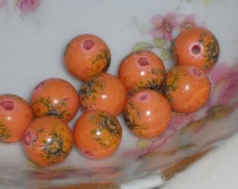 N592 Vintage Floral Beads Round 10mm Japan Tensha Rose Flowers Orange Old Antique NOS