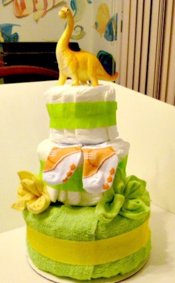 Dinosaur Diaper Cake Baby Boy Or Girl Lime Green Orange Yellow