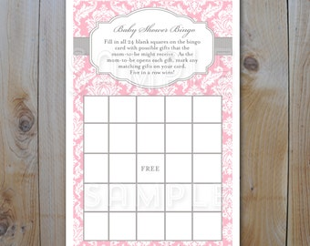 Shower Bingo Game Card / Pink and Grey Damask  Bingo Cards / Instant Download / PRINTABLE /  12236